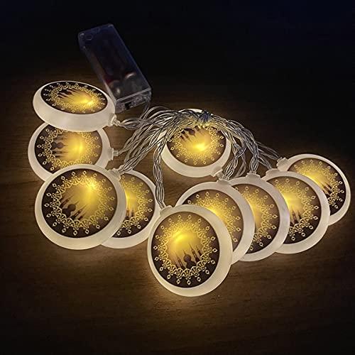 Guirnalda de Luces Ramadan, Luces de Hadas a Pilas 3M 20 luces LEDs Luces en Cadena Eid Mubarak Musulmán Islam Fiesta para Salón de Bodas Fiesta en el Jardín (Blanco cálido)