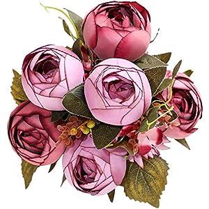 Silk Flower Arrangements Luyue Vintage Artificial Peony Silk Peonies Fake Flowers Wedding Bouquet Home Floral Decor (Pack of 1)-Vintage Purple