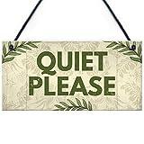 RED OCEAN QUIET PLEASE Do Not Disturb Sign Shabby Chic Hanging Door Plaque Salon Treatment Bedroom Sign