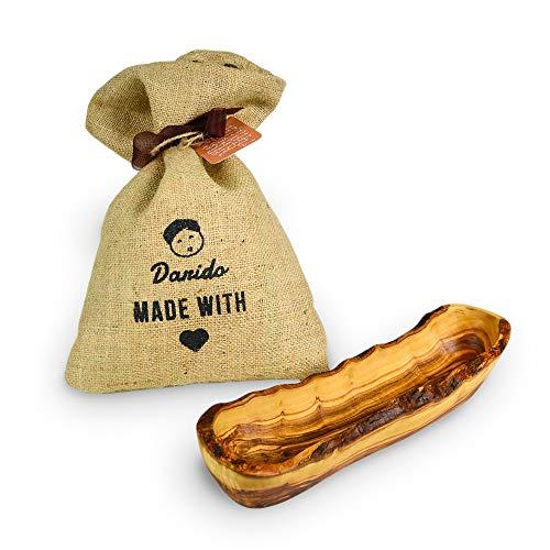 Brotkorb Holz - Olivenholz Baguette Schale - Rustikale Holzschale Deko - Mehrzweckschüssel - Holzschale länglich - Vintage Weihnachtstisch Deko - Handgemachte Schüssel - 35cm