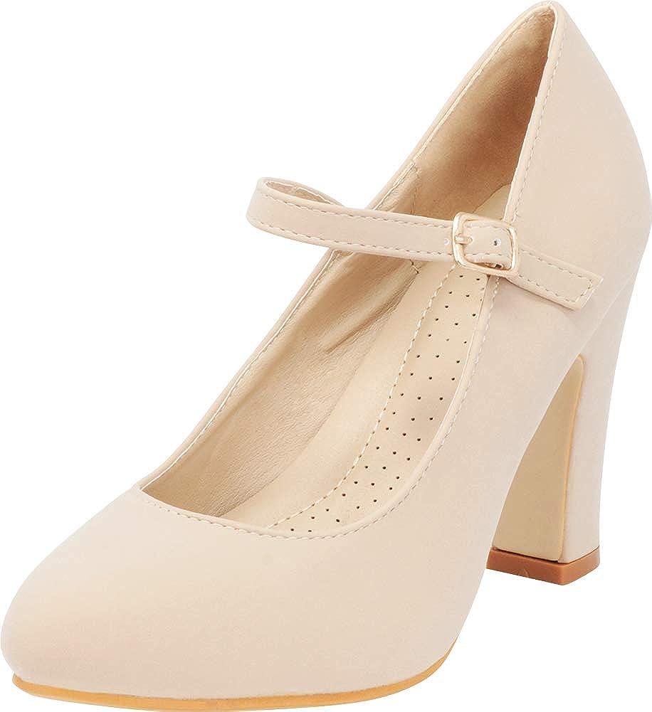 Cambridge Select Women's Mary Jane Chunky High Block Heel Pump