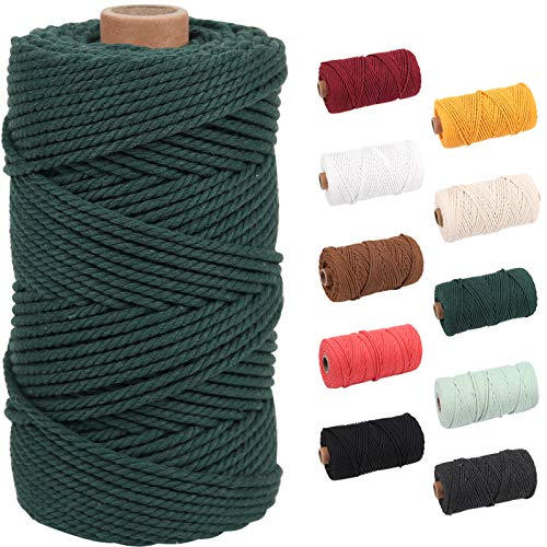 NOANTA Deep Green Macrame Cord 3mm x 109yards, Colored Macrame Rope, 3 Strand Twisted Cotton Rope Macrame Yarn, Colorful Cotton Craft Cord for Wall Hanging, Plant Hangers, Crafts, Knitting