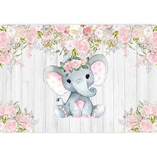 Allenjoy 7x5ft Rustic Floral Elephant Backdrop for Baby Shower Party Pink Flower Wood Its a Girl Banner Birthday Photography Background Cake Table Decoration Photo Booth Studio Props Favors Supplies