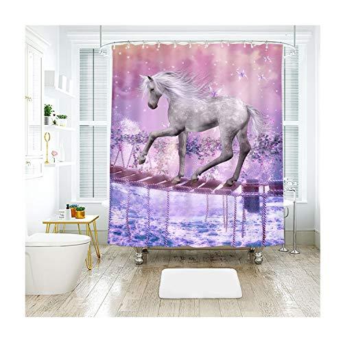 MaxAst Brücke Pferd W&erland Duschvorhang Anti Schimmel, Bunten Badewanne Vorhang 200x180CM, Antibakteriell Wasserdicht mit Kunststoff Ringe Kein Rost