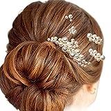 [Cocomoa]パール ヘアピン 髪飾り ヘッドドレス 結婚式 ヘアアクセサリー 5点セット ギフトボックス入り 60日間保証(B)