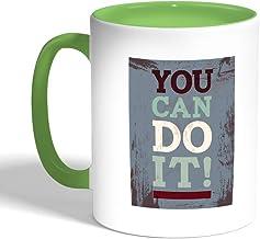 كوب سيراميك للقهوة، لون اخضر، you can do it ! بطبعة