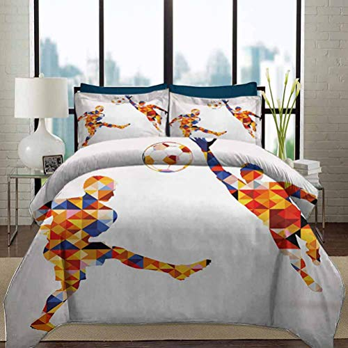 Sports Duvet Cover Set Queen Size Abstract Design with Football Soccer Players in Geometrical Colorful Shapes Print Decorative 3 Piece Bedding Set with 2 Pillow Shams Gift for Teens Kids Multicolor