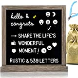 Muga Changeable Letter Board 12x12 inches, Black, 539 Changeable Letters, Rustic Frame, Block Stand, 2 Letter Bags, Scissors, Farmhouse Wall Decor