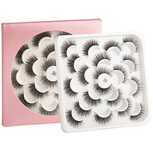 Pestañas postizas 3D - Pestañas negras naturales para mujer – 10 pares (106)