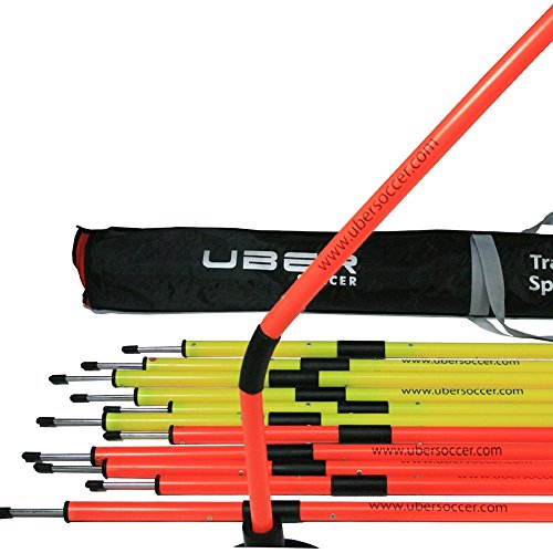 Uber Soccer Speed and Agility Training Poles -Spring Loaded Training Poles - Set of 12
