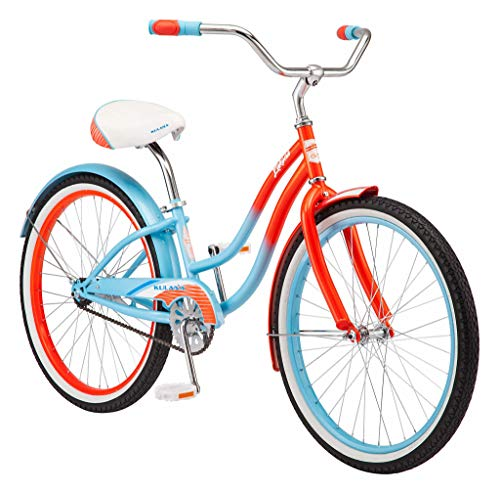 Kulana Lakona Shore Youth Beach Cruiser Bike, 24-Inch Wheels, Single Speed, Blue/Coral