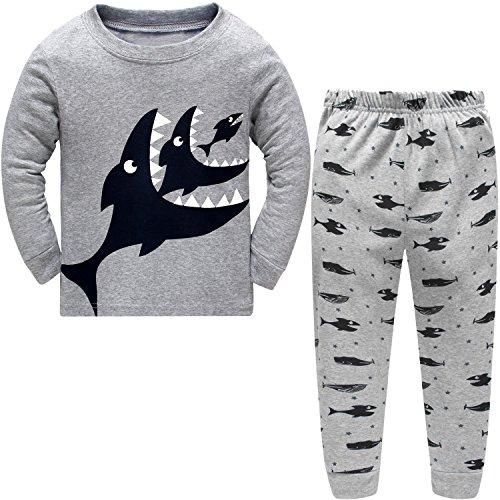 Amooy Dizi Jungen Pyjama Grauer Haifisch Kinder Nachtwäsche Winter Lange Hülse scherzt Pjs