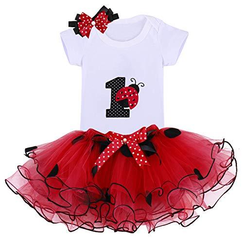 3PCs Bambina Prima Compleanno Onesie Tutu Vestito Fascia Set Pagliaccetto+tutù+Cerchietto Abbigliamento Abito per Festa Compleanno Carnevale Fotografia 001 Rosso Coccinella