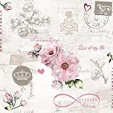 20 servilletas de amor intemporal como decoración de mesa para bodas, aspecto vintage, 33 x 33 cm