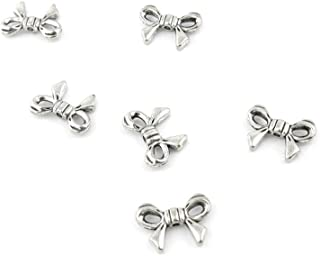 60 Pieces Antique Silver Fashion Jewelry Making Charms Findings JULG0 Bow Tie Bowtie Crafting Bulk Accessoires for Pendant Necklace Bracelet
