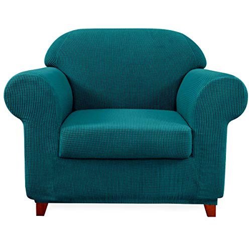subrtex Sofa Cover 2 Piece Stretch Couch Slipcovers Furniture Protector for Armchair Loveseat Washable Soft Jacquard Fabric Anti Slip(Small,Turquoise)