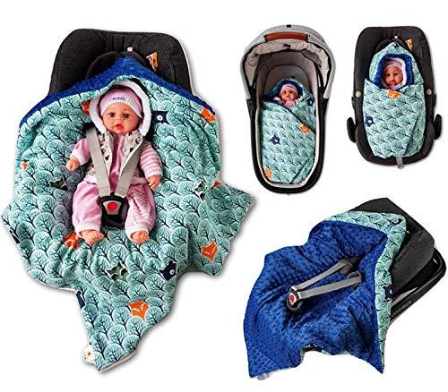 Babees© Couverture enveloppante matelassée et rembourrée pour siège auto de bébé universel, par exemple Maxi-Cosi, Römer et Cybex Couverture chaude et épaisse en tissu minky avec fermeture Velcro pour poussette, nacelle et lit de bébé