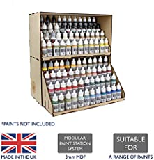 War World Gaming MDF Modular Paint Station System - Stackable Section with Paint Drawers – Wargame Miniature Mini Figure Painting Diorama Railway Railroad Modelling Hobbyists