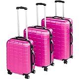 TecTake Set di 3 valigie ABS rigido trolley valigia bagaglio a mano | sistema di rotelle girevoli a 360° - disponibile in diversi colori (Rosa Fucsia | no. 402671)