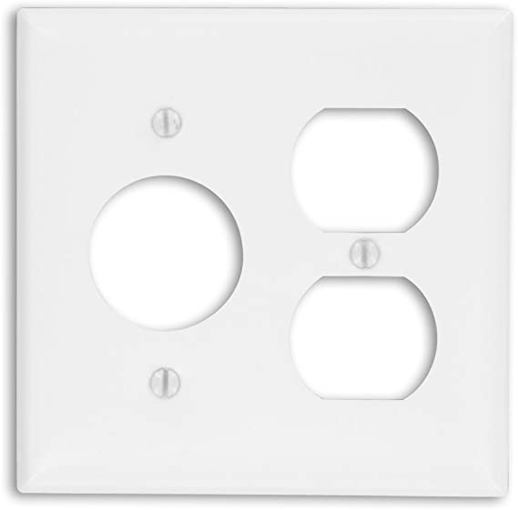 Leviton 88046 2 Gang 1 Duplex 1 Single 1 406 Inch Diameter Device Combination Wallplate Painted Metal Device Mount White Switch And Outlet Plates Amazon Com