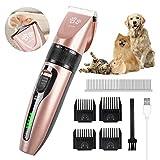 Cortapelos Perros, Hommie Maquina Cortapelo Perro y Gatos de 5 Velocidades, Cortapelos Perros Profesional con LED Pantalla,Ruido
