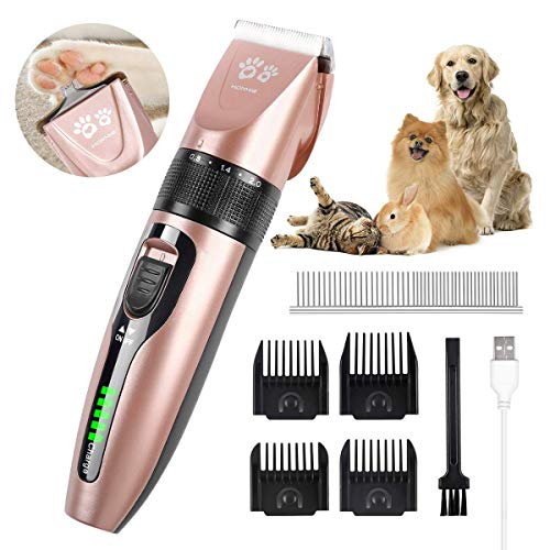 Hommie Dog Clippers, 2 in 1 Dog Grooming Kit,Wireless Kit with Double Blades, USB Rechargeable Dog Shaver, Clipper for Dogs, Cats, Rabbits. (S300, Rose Gold)