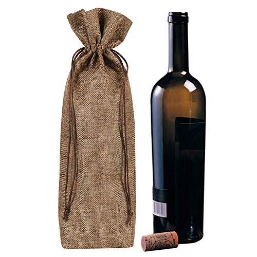 Geschenktaschen 10 Weintüten Jute Geschenktüten mit Kordelzug Weinverpackung Einfarbig Weintasche Tragbar Weinverpackung für Weinflaschen Wein Olivenöl Champagner Sekt Oktoberfest Weihnachten