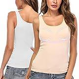 SLIMBELLE Camiseta interior de sujetador con sujetador integrado, sin aros, cuello redondo, básica, para copa A-C blanco y beige. XXXL