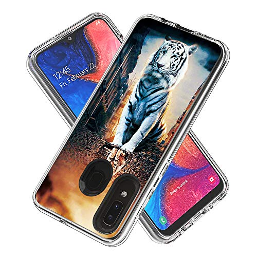 Phone Case for Samsung Galaxy A20/A30/A50/A505/A30S/A50S Shockproof Hard Plastic Back + TPU Soft Bumper Protective, Cover with Kawaii Cartoon Card Phone Case (Reflection Cat)