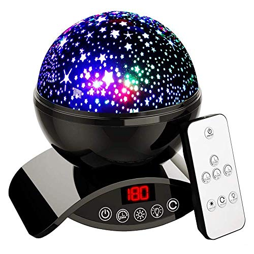 Star Projector Night Light for Kids - Baby Night Light Projector for Bedroom - with Timer Remote and Chargeable - Gift for Kids - Black