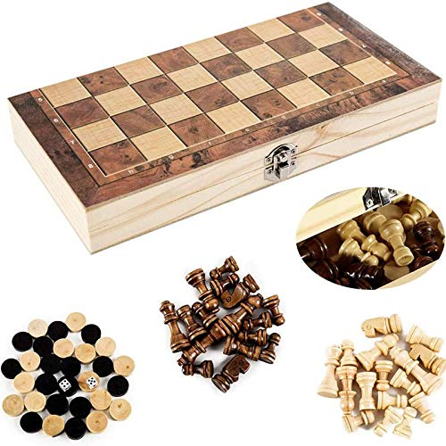 Chess Checkers 3 in 1 Chess Folding Wooden Board Portable Chess Game with Large Chessboard for Party Family Activities Children Adults,29X29cm