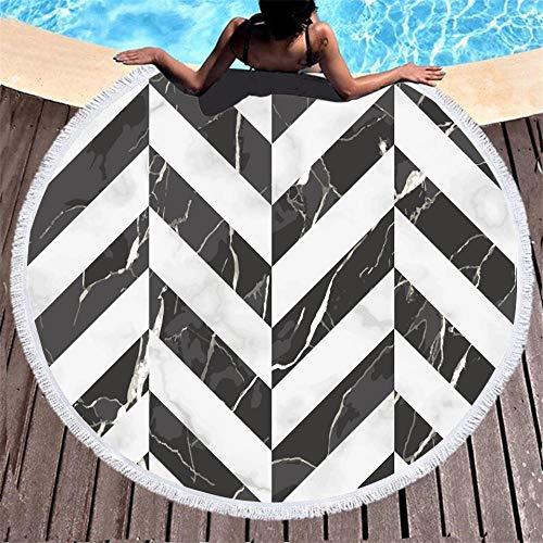 SDFGS Marble printed round beach towel and tassel geometric black white decoration microfiber adult bath towel children bedroom play tent mat
