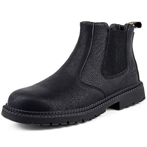 [マンディー] 安全靴 防水 ハイカット あんぜん靴 作業靴 ブーツ 鋼先芯 おしゃれ 耐滑 セーフティシューズ 軽量 衝撃吸収 チェルシー ブーツ 815/ブラック/44