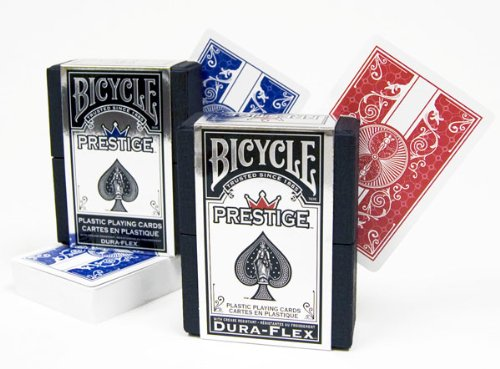 Bicycle Prestige 100% Plastic Playing Cards - Red/Blue Poker Regular