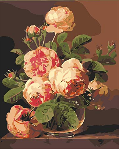 YOFUHOME Lienzo de Pintura por números, Kit de Pintura al óleo de Bricolaje para Adultos, Pintura de Dibujo con Pinceles, Pigmento acrílico, Flor Rosa 40x50 cm sin Marco