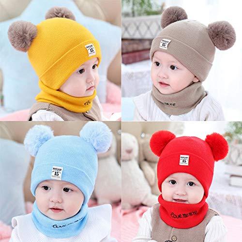 Aibccr Sombrero de bebé Bufanda otoño e Invierno recién Nacido niños y niñas Sombrero de Punto de bebé Sombrero de Lana de Invierno Oso-Beige-Sombrero único