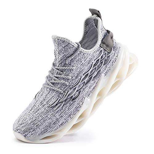Men Walking Shoes Outdoor Non Slip Sports Sneakers for Men Breathable Fashion Athletic Shoes Blade Gray Size8.5