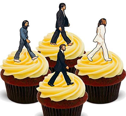 Made4You The Beatles Abbey Road - Decoración comestible para cupcakes, oblea de pie para decoración de tartas