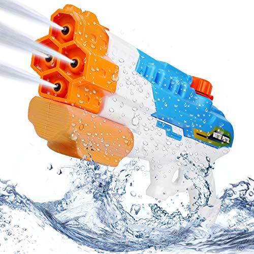 Mitening Wasserpistole mit Großer Reichweite 8-10 Meter, Spritzpistole 4 Düsen Water Gun mit 1150ML Wassertank, Wasserpistolen Blaster Spielzeug für Kinder Erwachsene Party Garten Strand Sommer Pool