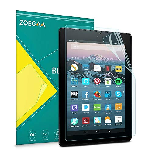ZOEGAA Anti-Blue Light Screen Protector for Amazon Fire HD 10 Tablet 10.1' (7th / 9th Generation, 2017/2019 Release) and Fire HD 10 Kids Edition, Anti-fingerprint Premium PET Film