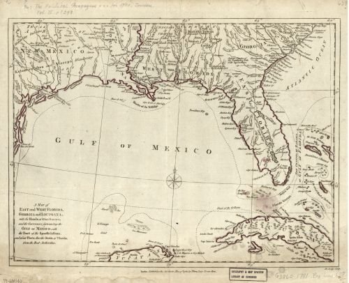 1781 Map A map of East and West Florida, Georgia, and Louisiana : with the islands of Cuba, Bahama, and the countries surrounding the Gulf of Mexico, with the tract of the Spanish galleons, and of our