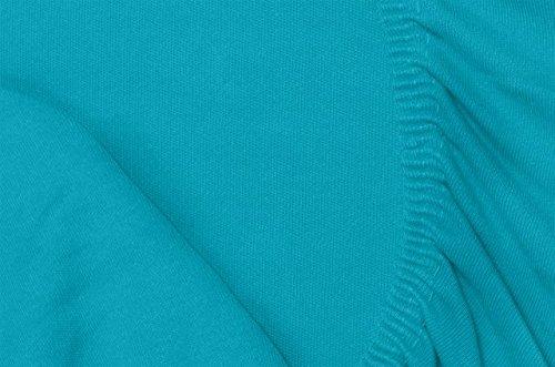 #16 Double Jersey Jersey Spannbettlaken, Spannbetttuch, Bettlaken, 160x200x30 cm, Türkis - 5