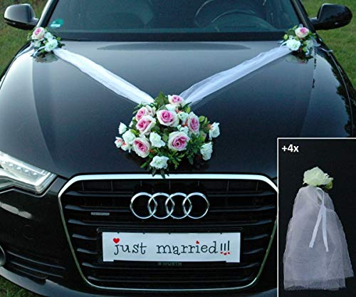 Autoschmuck Spitze STRAUß Auto Schmuck Braut Paar Rose Deko Dekoration Hochzeit Car Auto Wedding Deko PKW (SS Mix Lila)
