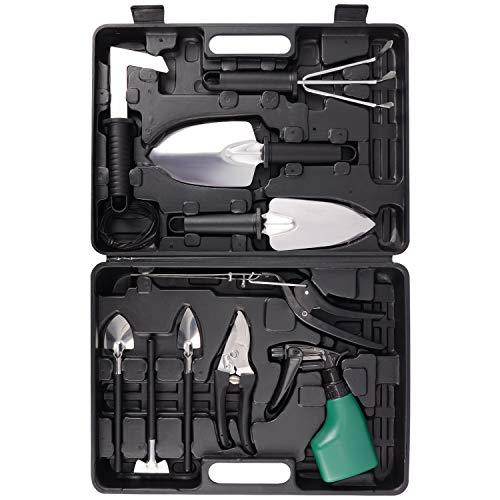 BNCHI Gardening Tools Set,12 Pieces Stainless Steel Garden Hand Tool, Gardening Gifts for Women,Men,Gardener (Black)