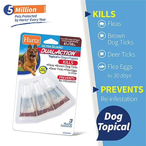 Hartz UltraGuard Dual Action Topical Flea & Tick Treatment for Dogs and Puppies - 61-150lbs, 3 Monthly Treatments