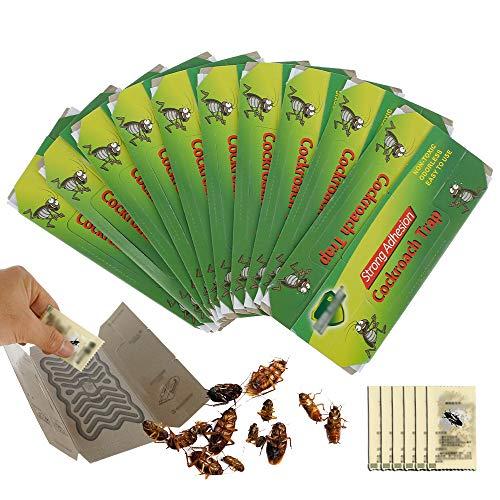 10 Piezas Trampas Cucarachas, Incluir gránulos de cebo para Alimentos Pegajosa Colector de Cucarachas Bolsa Cucarachas Trampa Adhesiva para Cocina y Sala (10 pcs)