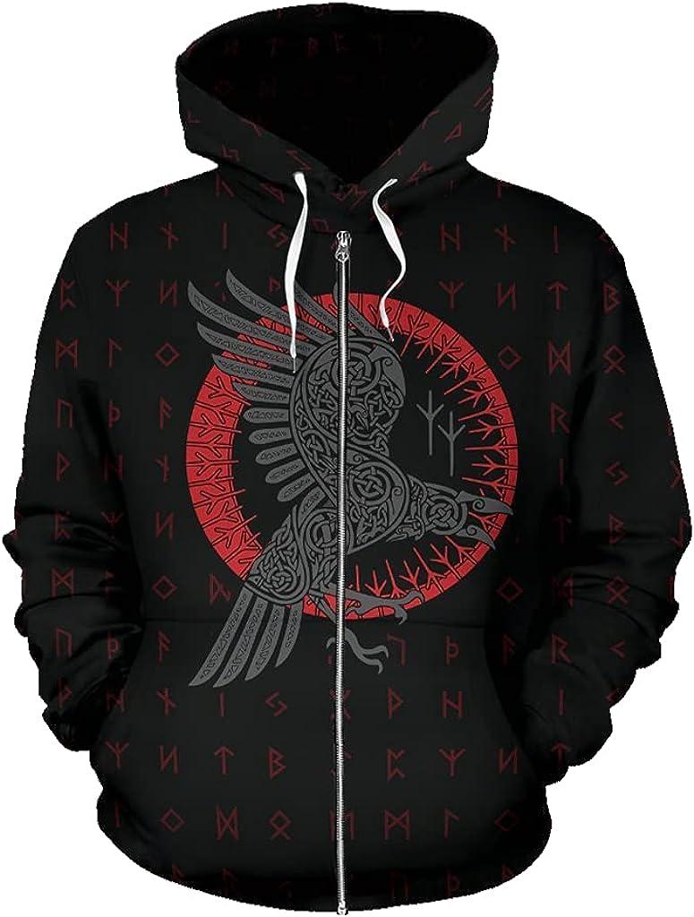 Norse Myth Men's Zip Hoodie 3D Printing Casual Loose Vikings Tattoo Long Sleeve Autumn Unisex Casual Coat Jacket