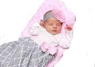 Infant Newborn Baby Girl Coming Home Outfit Layette Gown with Headband Pink Gray