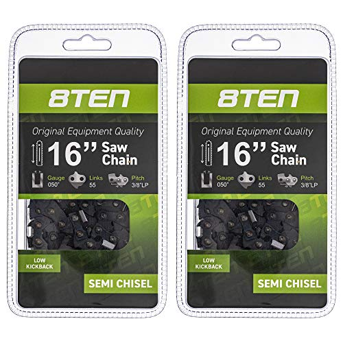 8TEN Chainsaw Guide Bar and 2 Semi-Chisel Chains for Stihl 09 010 MS 250 251 100 3005 000 4813 91PXL055G 16 inch 55DL