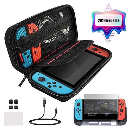 ECHTPower Tasche für Nintendo Switch, Nintendo Switch Zubehör Set Tragetasche mit Switch Schutzhülle Displayschutzfolie Daumen Kappen und Ladekabel Aufbewahrungstasche für Switch und Zubehör